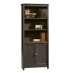 Sauder Edge Water Library with Doors, Estate Black